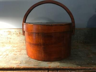 "Antique Primitive Pantry Box Wood Handle Pumpkin Patina Thick Walls 13""  aafa 11"