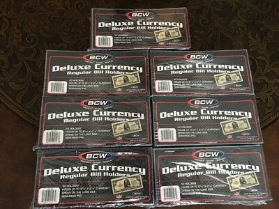 10 SEMI RIGID Protector Sleeve Regular US Dollar Bill DELUXE CURRENCY HOLDER BCW 6
