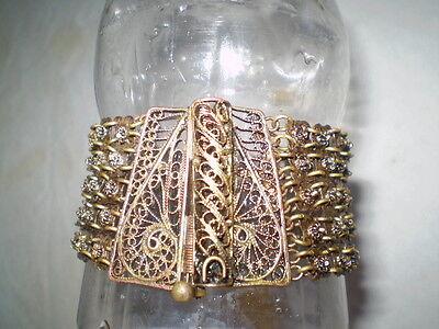 Old  RARE HANDMADE-ANTIQUE -BRACELET  filigree Handmade Bronze 9