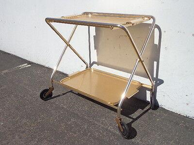 Mid Century Bar Cart Woodmet Folding Gold Copper Brass Vintage MCM Tea Serving 10