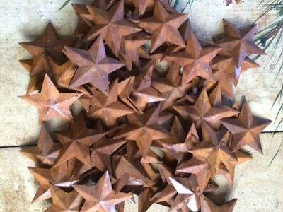 "50 Dimensional Rusty Barn Stars 2.25 in 2 1/4"" Primitive Metal Rust 57mm Craft * 6"