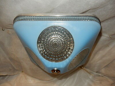 Art Deco BLUE Square Glass Light Fixture Ceiling Chandelier 1940s-----Pr. Avail. 3