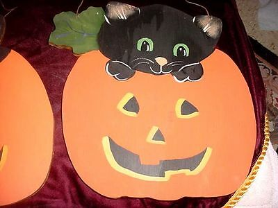Two Vintage Hand Made Halloween  Black Cat Pumkin Jack O Lanterns Folkart