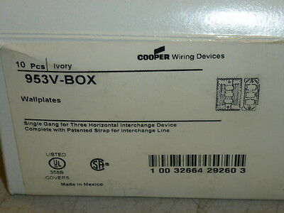Nos 2 Cooper Interchange Single Gang Ivory Ribbed Wall Plate, Horizontal, 953V 3