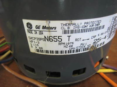 GE COMMERCIAL MOTORS 1/2 HP 115V 9A 1P Electric Motor 5KCP39PGN655S USED