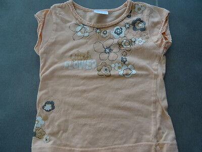 Ensemble jupe lin beige 2 ans + t-shirt saumon imprimé fleurs à paillette 3 ans 3