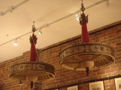 Art Deco Vintage Pair Metalwork Chandeliers 9