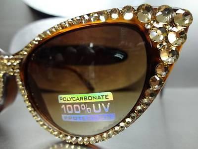 VINTAGE 60s CAT EYE Style BLING SUNGLASSES Tortoise frame Gold Crystals Handmade