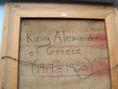 """King Alexander of Greece 1917 1920 Huge Oil Painting 81""""  tall Signed by artist 8"""