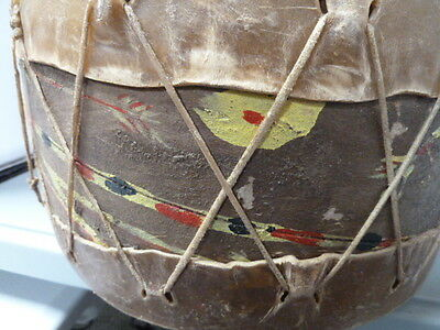 Rare Native American Indian Drum - Painted Hide Tops & Sides -Great