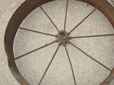 Vintage Rustic Rusty Iron Farm Implement Wheel Farm decor 3