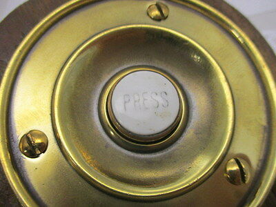 "Victorian Round Brass Doorbell with Porcelain ""PRESS"" Architectural Antique Old"
