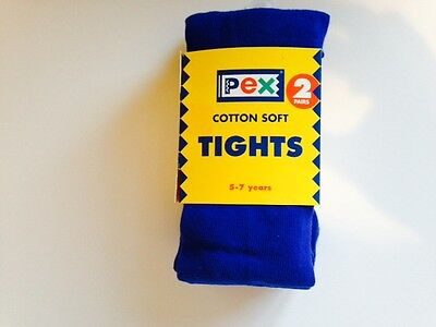 Royal Blue Tights Girls 2 Pair Pack Cotton Soft Great For School : All Sizes 2