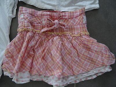 Ensemble jupe rose quadrillé KISS MELODY + Tunique & t-shirt blanc Taille 3 ans 4