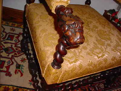 19Th Cenntury Jacobean Style Or Hunt Carved And Upholstered Chair 3