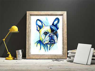 French Bulldog art print painting Bull Dog Frenchie Poster Gift Birthday Gifts