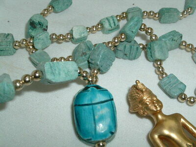 Vintage Egyptian Revival Faience Bead & Scarab Hieroglyphics Necklace 2