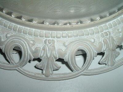 Antique Vintage Ceiling Lighting Fixture Frosted Floral Glass Enamel over Metal 5
