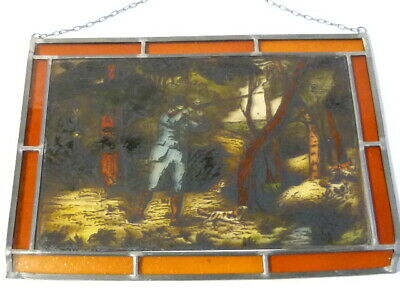 Vintage Shooting Scene Lead Lined Hand Painted Stained Glass Window Hanging 3