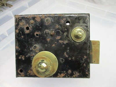 Vintage Iron Lock with Brass Sliding Latch Bolt Handle Original Key Antique 8