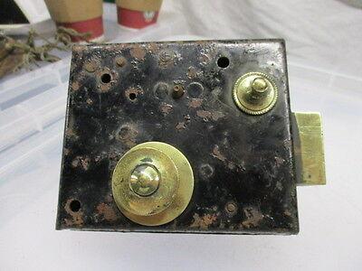 Vintage Iron Lock with Brass Sliding Latch Bolt Handle Original Key Antique 9