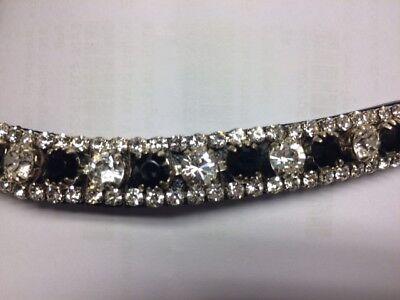 "HKM /""Kate/"" Diamond Sparkle Black Leather Browband"