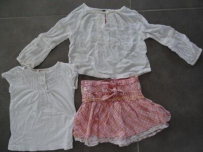 Ensemble jupe rose quadrillé KISS MELODY + Tunique & t-shirt blanc Taille 3 ans 8