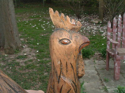 "Primitive Americana Hand Carved Oak Wood Large 19"" Rooster Statue 7lbs. 3"