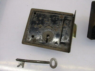 Vintage Iron Lock with Brass Sliding Latch Bolt Handle Original Key Antique 4