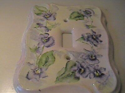 Vintage 1960'S Ceramic Hand Painted Purple Iris Light Switch Cover 3