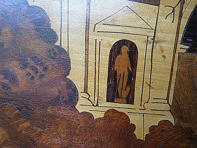 Antique European Wall Coat Hanger Burl Wood Marquetry Inlay With Castle Panel 4