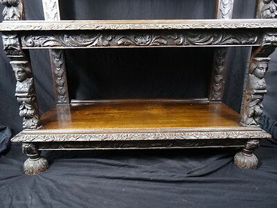 Large Finest Antique 19th Century Carved Kings Black Forest Oak Buffet Sideboard 10