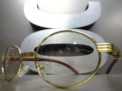 2e855e6b05be ... Mens CLASSY MODERN Clear Lens EYE GLASSES Oval Gold   Wood Wooden  Effect Frame 2