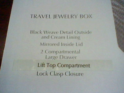 Jaclyn Smith Top Handle /& Lock Clasp Closure Black Weave PVC Travel Jewelry Box