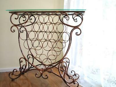 Handmade Iron Elegant French Bottle Wine Rack Storage Console Glass Top Table CP