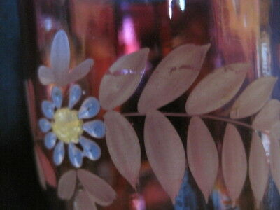 Vintage Matching Pair 1800's Victorian Cranberry Glass Floral Enameled Tumblers 9