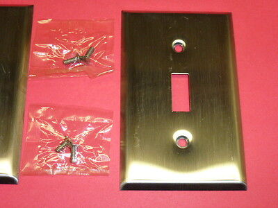 (2) Nos! Bell Deluxe Single Gang Stainless Steel Wall Switch Plates 2