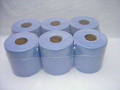 6 Pack 2 Ply Blue Embossed Centre Feed Paper Wipe Rolls 4
