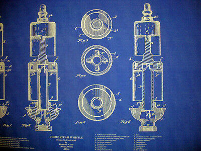 Antique crane company brass steam whistle blueprint plan 19x28 1 of 3 antique crane company brass steam whistle blueprint plan 19x28 malvernweather Images