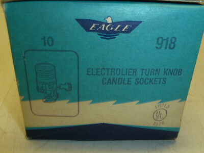NOS! LOT of 10 EAGLE ELECTROLIER TURN KNOB CANDLE LAMP SOCKETS, #918
