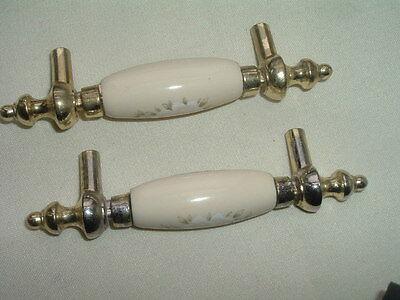 Vintage Pair Creme Porcelain Floral Drawer Pulls Handles Goldtone 3