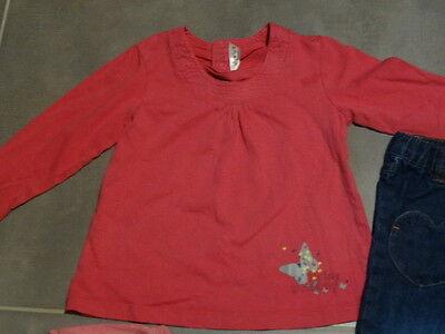 Tenue : jeans bleu poches cœur + 2 t-shirt rose 3 ans / 94 cm KIDKANAï 5