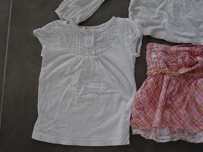 Ensemble jupe rose quadrillé KISS MELODY + Tunique & t-shirt blanc Taille 3 ans 3
