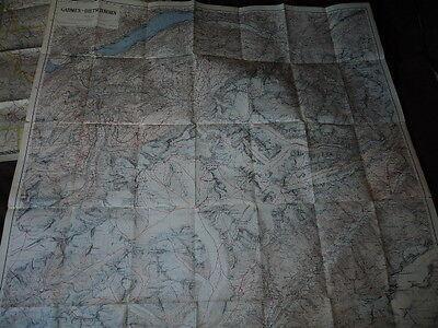Vintage Circa  193O's  Gadmen-Bietschhorn   Colored Route Map