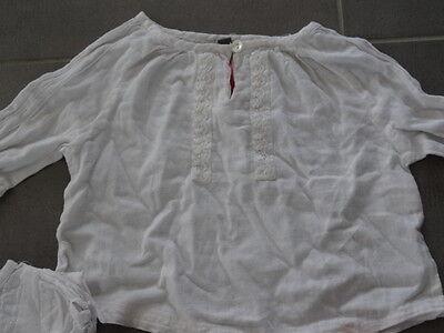 Ensemble jupe rose quadrillé KISS MELODY + Tunique & t-shirt blanc Taille 3 ans 9