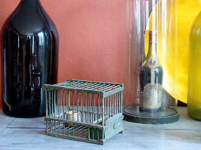 ANTIQUE VINTAGE WOOD & WIRE BIRD CAGE Hunting - French Shabby Deco #1 2