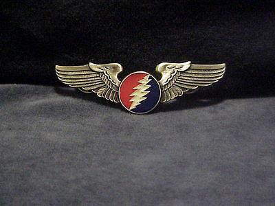 Large Grateful Dead Circle Lightning Bolt Wings Pin