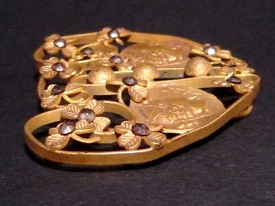 Beautiful Vintage Compact Bronze Gilt Buckle, Ancient Coins Replicas!!!