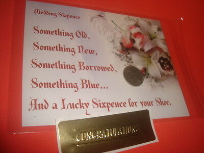 1953 BRITISH LUCKY WEDDING SIXPENCE Keepsake Coin Floral Card Organza Pouch