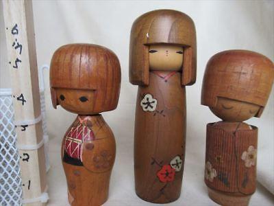 Cute kokeshi Japanese antique wooden doll 2 set 2